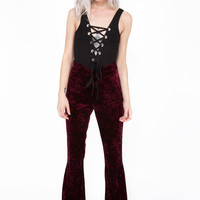 Bohemian Flare Burgundy Red Velvet Bell Bottom Pants