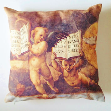 "Cushions / pillows ""Disputa"" painted by Raphael in Vatican, printed on cotton canvas. Cushion cover, insert sold apart."