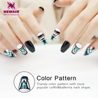 Coffin False Nails with Designs Long Full Cover Ballerinas Fake Nail Tips Artificial ABS 24PCS Nail Art