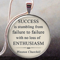 Churchill quote pendant charm on Success, funny quote, humorous inspirational jewelry