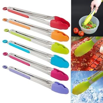 Silicone Kitchen Cooking Salad Serving BBQ Tongs Stainless Steel Handle Utensil