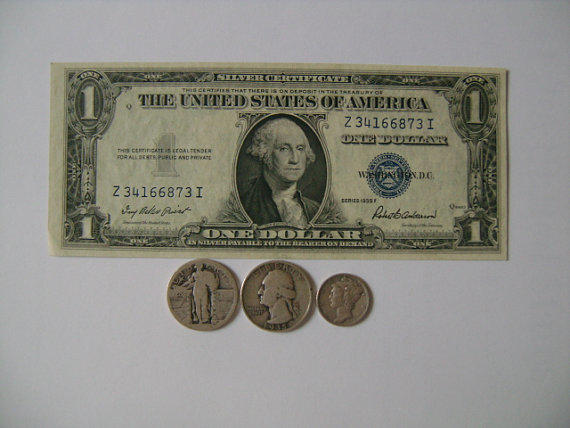 Collection of Old US Money with 1935F One from lizystuff on Etsy