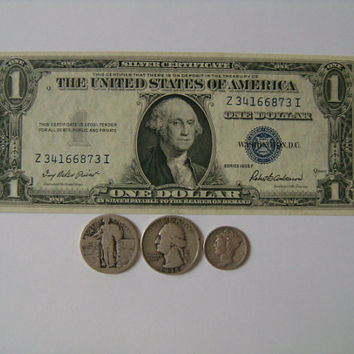 Collection of Old US Money with 1935F One Dollar Bill Siver Certificate 1935 Washington Quarter 1941 Mercury Dime Standing Liberty Quarter