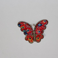 Vintage Butterfly Brooch Pin red blue ladies costume jewelry
