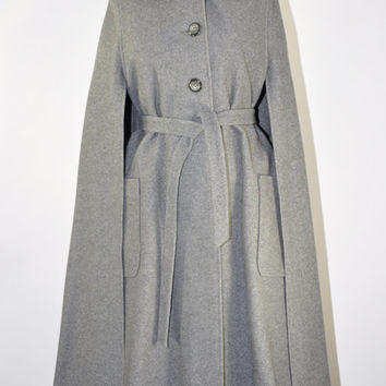 70s gray wool cape coat / vintage 1970s belted long wool coat / Frigid Weather cape