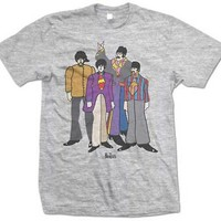 The Beatles Yellow Submarine Cartoon Band Licensed Adult T-Shirt - Grey - M