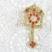 Vintage Cuckoo Clock Brooch / Pin, Clear Red Rhinestones / Glass Crystals, 1950s 1960's Mad Men Novelty Costume Jewelry