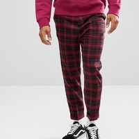 ASOS Drop Crotch Tapered Pants In Wool Mix Burgundy Check at asos.com