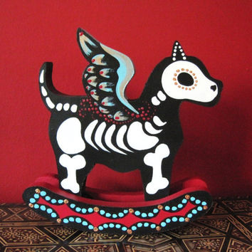Day of the Dead WINGED DOG Rocking Wood Toy by illustratedink