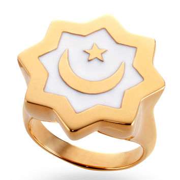 Gold & White Abraham Crescent Ring