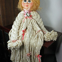 Mop Doll with Porcelain Head Vintage Collectible
