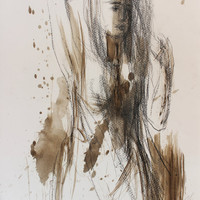 Original drawing Sketch Mixed media Wall art Woman Figurative Modern Graphic art Abstract artwork Fine art Charcoal Nude female Figure