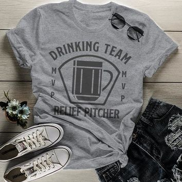 Women's Funny Beer T Shirt Relief Pitcher Shirt Drinking Shirts St Patricks Day Graphic Tee Drinking Team