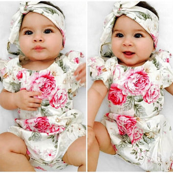 Newborn Baby Girl Floral Ruffle Short Sleeves Jumpsuit Bodysuit Outfits Sunsuit Clothes 0-18M
