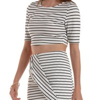 Black/White Striped Open Back Crop Top by Charlotte Russe