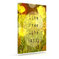 "Alison Coxon ""Live Free"" Yellow Green Outdoor Canvas Wall Art"