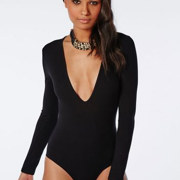 Missguided - Long Sleeve V-Neck Bodysuit In Black