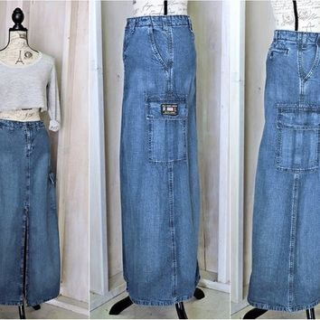 Long denim skirt / size S 4 / 5 / Polo Ralph Lauren / 90s maxi jean cargo skirt / retro / boho / hippie / grunge
