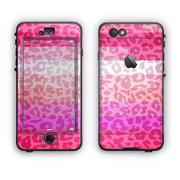 The Hot Pink Striped Cheetah Print Apple iPhone 6 Plus LifeProof Nuud Case Skin Set
