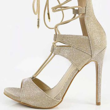 Shoe Republic LA Yara Glitter Lace Up Heels