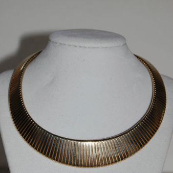 Vintage Gold Tone Stretch Choker Necklace, Costume Jewelry