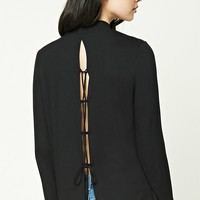 Mock Neck Lace-Up Back Top