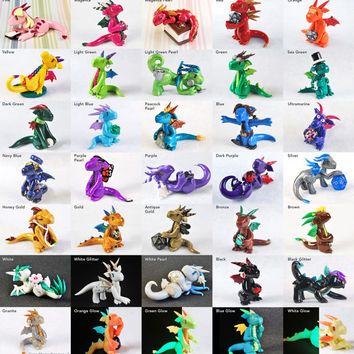 Build your own custom made to order rainbow dragon guardian - polymer clay dragon figurine - cute dragon - fantasy sculpture - geeky gift