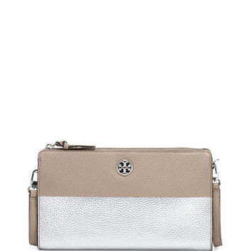 Tory Burch Perry Colorblock Wallet Crossbody Bag, French Gray/Silver