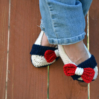 Bow tie strap slippers, booties, shoes, socks in patriotic red, white and blue