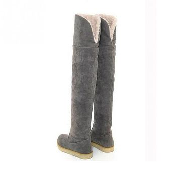 Women Flat Bottom Boots Shoes Over The Knee High Suede Long Boots Snow shoes
