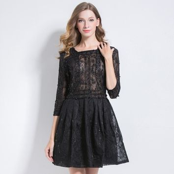 Fall Luxury Party Square Collar Sleeve Handmade Heavy Bead Pearl Sequin Tunic A Line Hollow Out Lace Dress