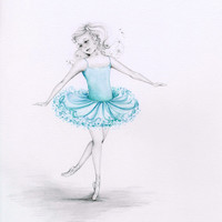 Custom Portrait Whimsical Fantasy Portrait an Original Pencil Drawing Watercolor Painting Custom Ballerina Drawing of Your Child Kids Art