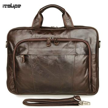 "New Itslife Classic Vintage Genuine Leather Men's Handbag Tiny 15"" Laptop Bag Briefcase Messenger Bag Cowhide Casual Tote"