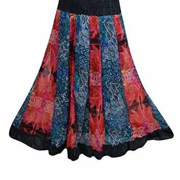 Mogul Interior Womens Peasant Skirt Red Blue Patchwork Printed Tiered Long Maxi Skirts S/M: Amazon.ca: Clothing & Accessories
