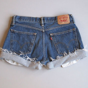 Levi's Cut Off Denim Jean Shorts Boyfriend Jeans Blue 33""