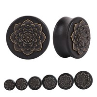 Natural Wood Lotus Tunnel Ear Plugs Tunnel Gauge