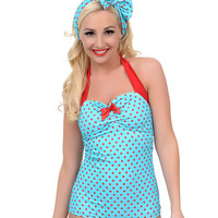 Vintage 1950s Style Pin-Up Aqua & Red Dottie Maillot Swimsuit
