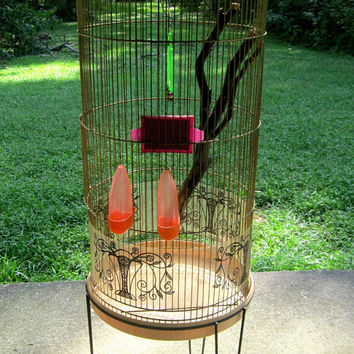 Bird Cage Large Round Cage With Stand Shabby Bird Decor Vintage Cottage Charm