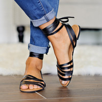 * Jacks Lace Up Sandal: Black