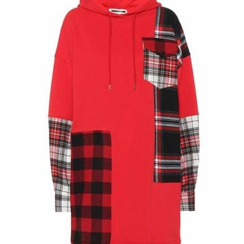 Plaid patch cotton hoodie