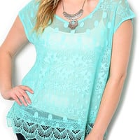 Mint Plus Size Dressy Sheer Crocheted Polka Dot Lace Top