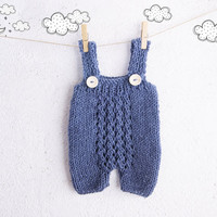 Blue Knit Baby romper / Newborn Photo Prop / Knitted Baby Overalls / Baby Clothing