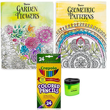 Crayola Colored Pencils (24), Prismacolor Pencil Sharpener, and 2 Adult Coloring Books (Garden Flowers and Geometric Patterns), Bundle of 4 Items
