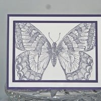 Purple Butterfly All Occasion Hand Stamped Card