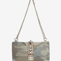 VALENTINO FLAP LOCK CHAIN SHOULDER BAG: CAMO