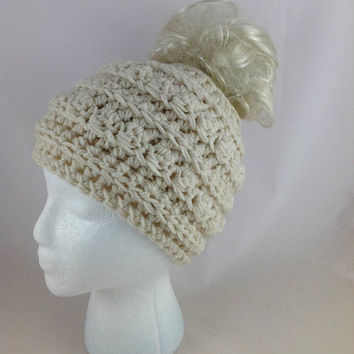 Cream Bobble Toboggan Messy Bun Beanie Pony Tail Hat Mom Life Beanie Messy Bun Hat Adult Ear Warmer Hat Mom Life Hat Crochet