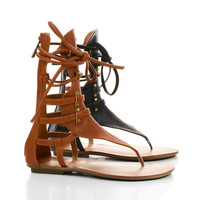 Avis2 Tan Pu by Liliana, Strappy Mid Calf Gladiator Flat Thong Sandals