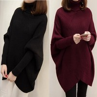 Korean Knit Tops Pullover Plus Size Batwing Sleeve Winter Sweater [189417259034]