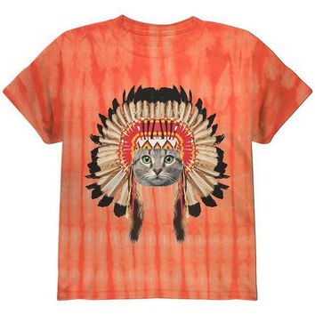 CREYCY8 Thanksgiving Funny Cat Native American Youth T Shirt
