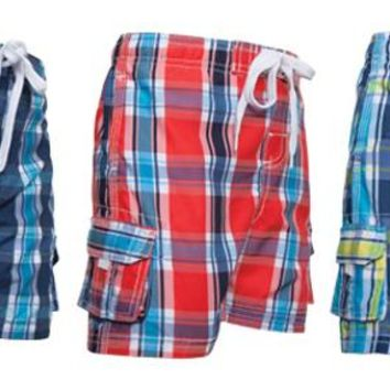 Toddler Boy's Plaid Swim Trunks with Side Pockets - Size 2-4T - CASE OF 36